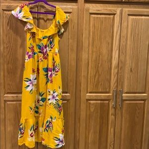XS Yellow Flower Patterned Dress Brand New